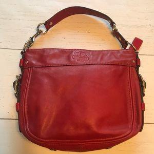 Coach Zoe red leather hobo shoulder bag